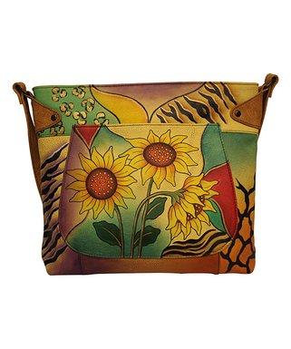 Sunflower Safari Convertible Hand-Painted Crossbody Bag