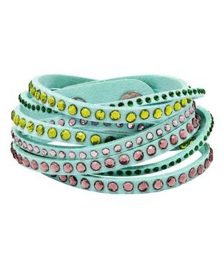 2b926e397 Barzel | Pink Austrian Crystal & Green Faux Leather Wrap Bracelet