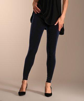 d1dba9bffcfcc Lbisse | Navy Velvet Leggings - Women & Plus