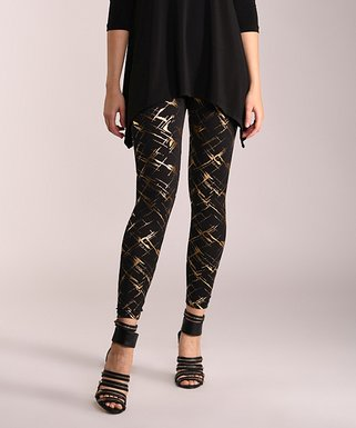 06fcac5aa1c Black   Gold Abstract Leggings - Women   Plus