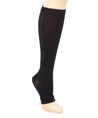 5fb08a7adc XTF | Black Open Toe Zipper 15-20 mmHg Moderate Compression Socks - Adult