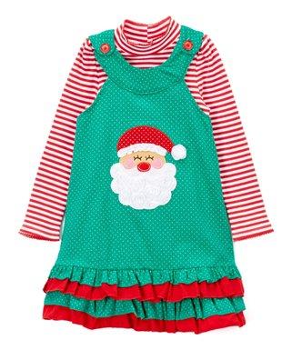 green santa jumper stripe top toddler - Christmas Clothes For Kids