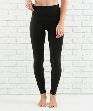 42b10975586ec2 Black Lined Tummy-Control Leggings - Women