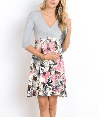 b15e123b14389 Hello Miz Maternity | Gray & Pink Floral Maternity/Nursing Surplice Dress