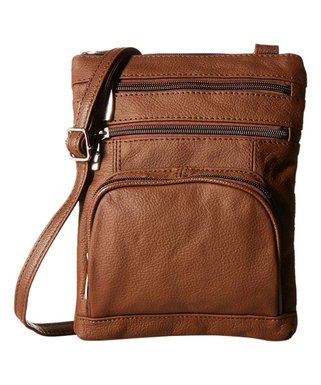 Afonie Brown Rectangle Leather Crossbody