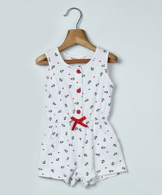 730d0dca79f White Anchor Bow-Accent Romper - Infant