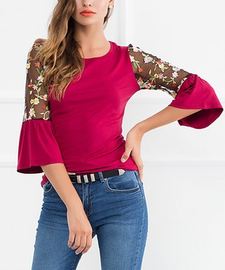 64998e2b7c23d Burgundy Floral Sheer-Accent Bell-Sleeve Top
