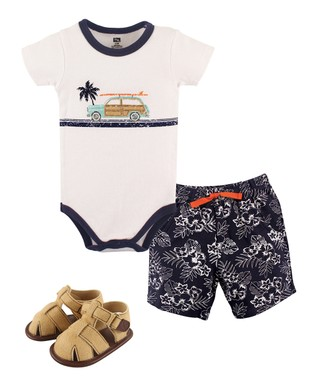 95a7a9acc White Surf Bodysuit & Floral Shorts Set - Newborn & Infant