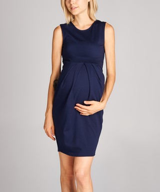 11360e6c3af5e Hello Miz Maternity | Navy Front-Pleat Maternity Sleeveless Dress