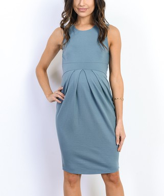 53f43c38f6783 Hello Miz Maternity | Turquoise Front-Pleat Maternity Empire-Waist Dress