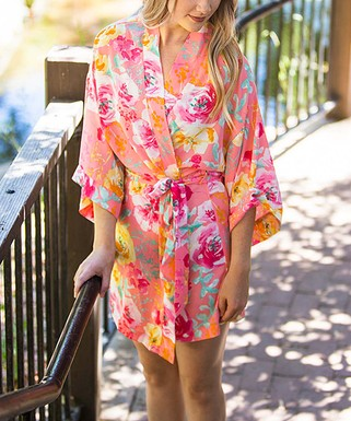 Pink   Yellow Floral Belted Robe - Women   Plus e33d1994d