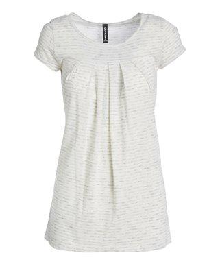 be57da64f5e White Pleated Short-Sleeve Top - Women