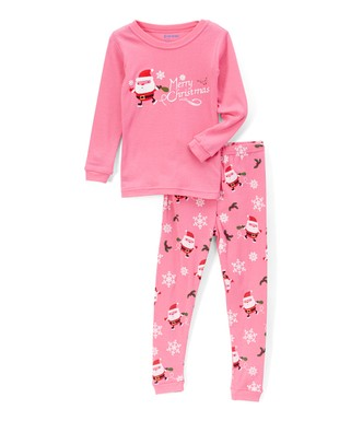 pink santa merry christmas pajama set infant toddler girls - Childrens Christmas Pyjamas