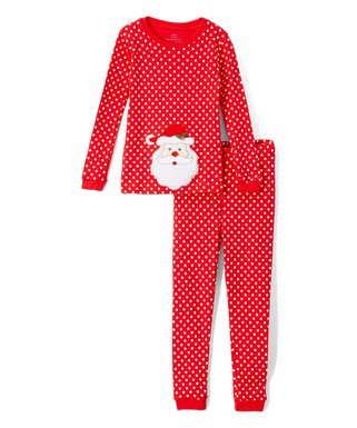 red polka dot santa pajama set infant toddler girls - Childrens Christmas Pyjamas