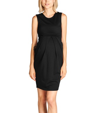 3a2a0786a3a21 Hello Miz Maternity   Black Front-Pleat Maternity Sleeveless Dress
