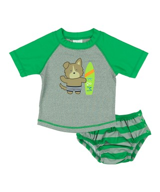 50ae9fcb26649 Green Bear Rashguard & Stripe Swim Diaper - Infant