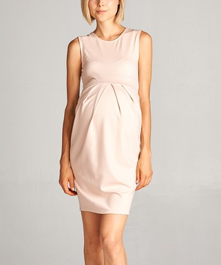 Hello Miz Maternity | Hello Miz Pink Blush Front Pleat Maternity Sleeveless  Dress