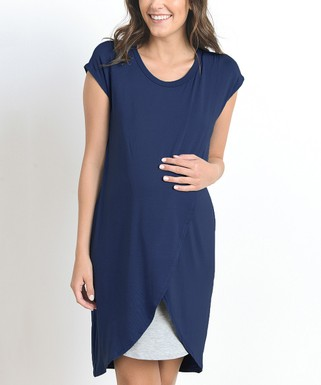 a5ec4bbac4200 Hello Miz Maternity | Navy & Gray Layered Maternity/Nursing Wrap Dress