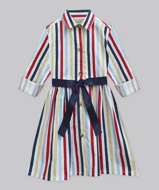Navy Stripe Shirt Dress Infant Toddler Girls