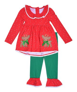 red reindeer tunic ruffle leggings toddler girls - Christmas Clothes For Kids