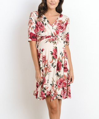 437784d8bcc77 Hello Miz Maternity | Sky Cream Floral Side-Tie Maternity Wrap Dress