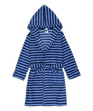 bf1e00b263 Blue   Navy Stripe Fleece Hooded Robe - Toddler   Kids