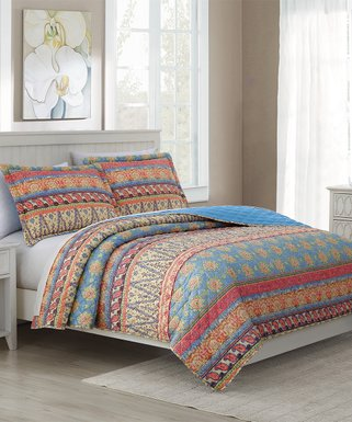 ecf13012bc RT Designers Collection | Blue & Coral Arabesque Rayna Oversize Stitched  Reversible Quilt Set