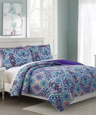 ba17c9f7b2 RT Designers Collection | Purple & Turquoise Ikat Oversize Stitched  Reversible Quilt Set