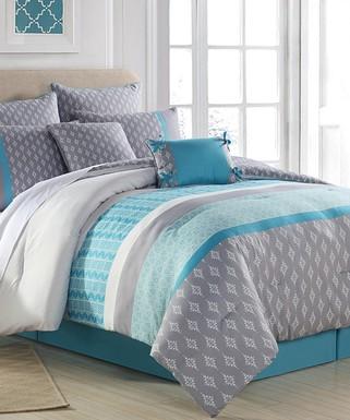 S L Home Fashions Spa Gray Sonia Eight Piece Comforter Set