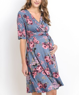 5b70686dd4ef0 Hello Miz Maternity   Denim Blue Floral Maternity/Nursing Surplice Dress