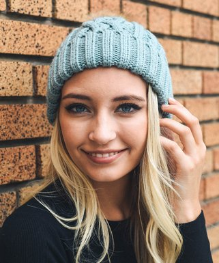 Mint Cable-Knit Faux Fur Pom-Pom Beanie - Women 229ac864338c