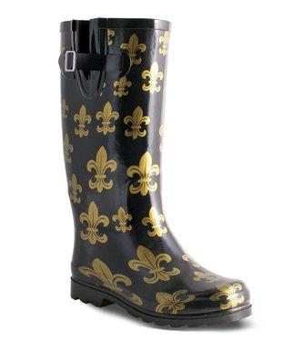 2b1f841243c7 Black & Gold Fleur-de-Lis Drench Rain Boot - Women