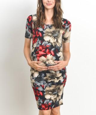 b36510c3f14c0 Hello Miz Maternity | Black & Red Floral Ruched Maternity Bodycon Dress