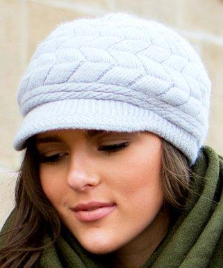 4070bc733b120 Gray Wool-Blend Brimmed Beanie - Women