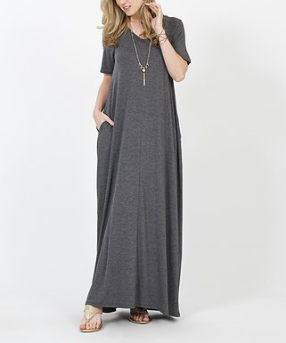 1dc323d090 Charcoal V-Neck Short-Sleeve Pocket Maxi Dress - Women   Plus