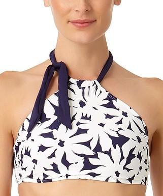 691b595160 Navy   White Floral Tie-Accent Halter Bikini Top - Women
