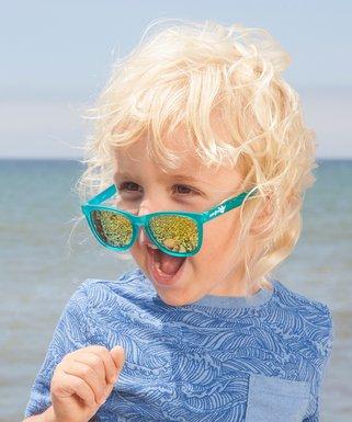 478907fa380 Teal   Yellow Mirror Square Sunglasses - Kids