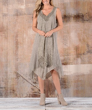 d5c0ed1604b7 Simply Couture   Khaki Floral Lace Layered Notch Neck Dress - Women