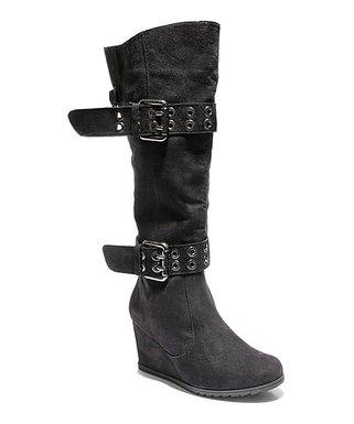 9dad88a4f 2 Lips Too | Black Too Nicole Wide Calf Wedge Boot - Women