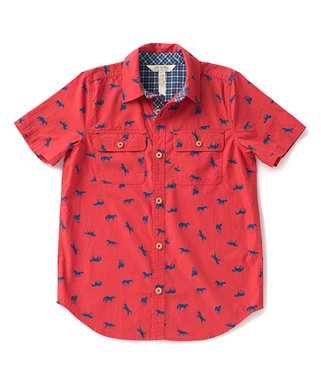 95430439a Matilda Jane Clothing | Red & Blue Horses Horsing Around Button-Up - Boys