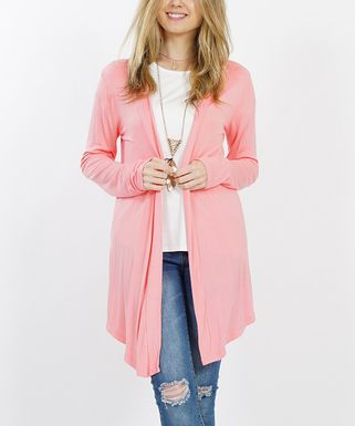 52ba59b52cd3e Rose Pink Drape-Front Open Cardigan - Women