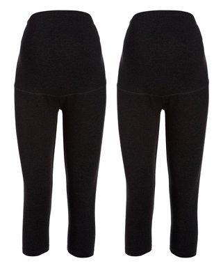 53eb1e5a65022 Black Over-Belly Maternity Capri Leggings Set - Plus Too