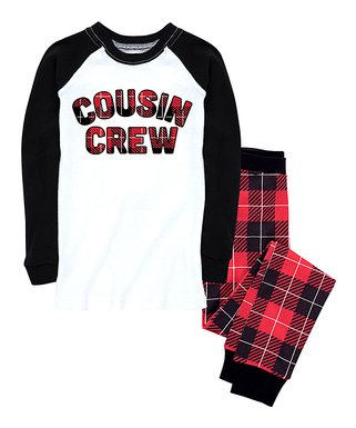 nap chat family red black buffalo plaid cousin crew pajama set