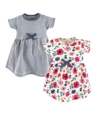 17dd497240af Blue Stripe   Cream Floral A-Line Dress Set - Newborn