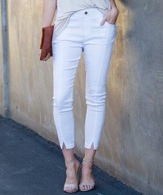5d339bf6d6a73 White Front-Slit Faux Button Pocket Jeggings - Women   Plus