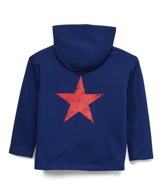 931f718241 Navy Distressed-Graphic Star Zip-Up Hoodie - Boys