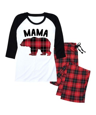 nap chat family red black buffalo plaid mama bear raglan pajama set