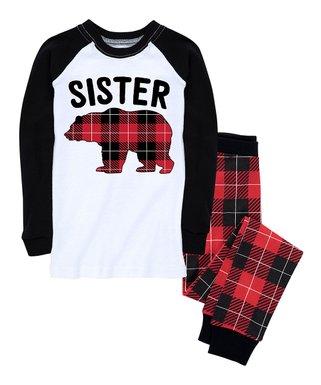 red black buffalo plaid sister bear pajama set infant toddler girls