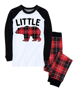 nap chat family red black buffalo plaid little bear pajama set