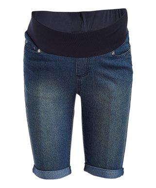 d1930c01bf99d Medium Wash Cuff Under-Belly Maternity Bermuda Shorts - Plus Too
